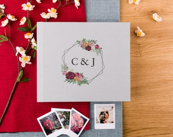 Wedding Guest Book with Custom Graphic Printing | Logos and Custom fonts are welcome | Any color available