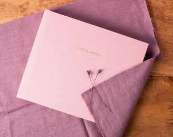 Wedding Guest Book Album in Candy Pink linen | Lay Flat Polaroid Album | Customizable Cover Gold Foil