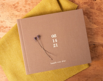 Brown Wedding Guest Book in Earth linen | Lay flat | Photo GuestBook