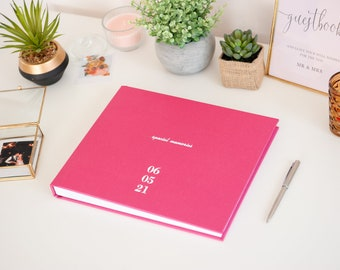 Guest Book in Rose Pink Linen | Lay Flat Polaroid and Fuji Instax Album | Customizable Cover with your names