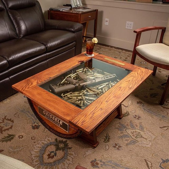 Whiskey Barrel Coffee Table With Bottle Storage Etsy