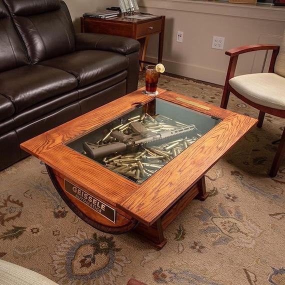 Table Basse Whiskey Barrel Avec Stockage De Bouteille Etsy