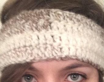 Headband Ear Warmer Crochet Knit Brown White Cream Handmade