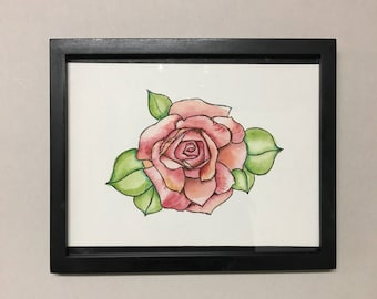 FRAME INCLUDED watercolor rose