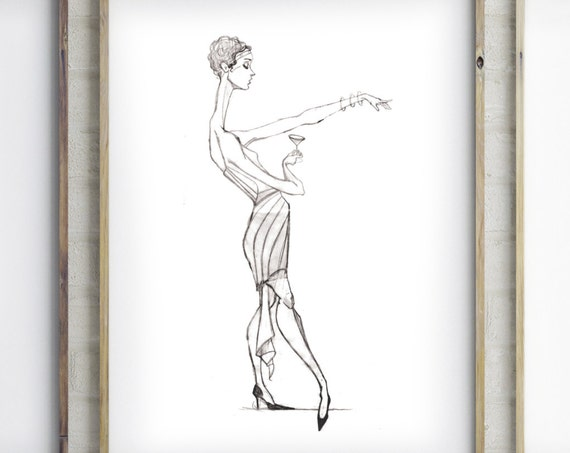 Art Deco Flapper Cocktail Dress Woman Black and white Sketch Sexy Woman Lounge Cocktail Abstract Figure Lounge Art Art Deco Cocktail Woman