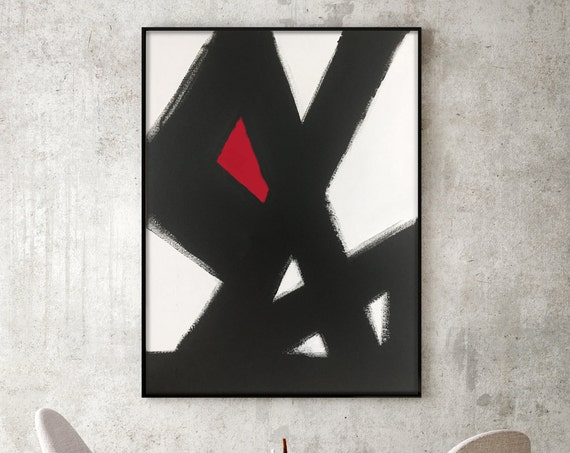 Abstract Black & White Slash No.2 RED Modern Living Room Art Modern Dining Room Art Modern Bedroom Art Large Canvas Black white red art red