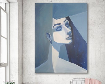 Large Abstract Wall Art Painting Blue Girl Face Bedroom Decor Living Room Art Geometric Cubism Abstract Person