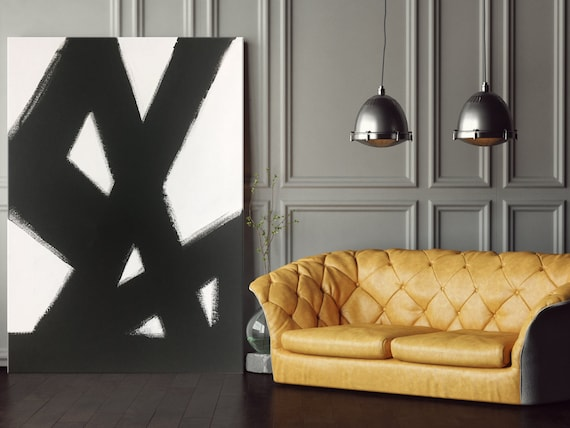 Abstract Black & White Slash No. 2 Abstract Art Painting Black White Living Room Art Dining Room Art Bedroom Painting Black White Art