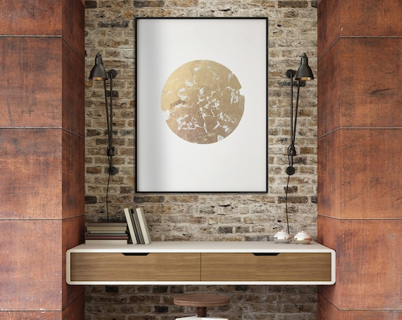Large Abstract Gold Leaf Metallic art, modern geometric art, gold and white art, living room art, bedroom art, office art, metallic gold