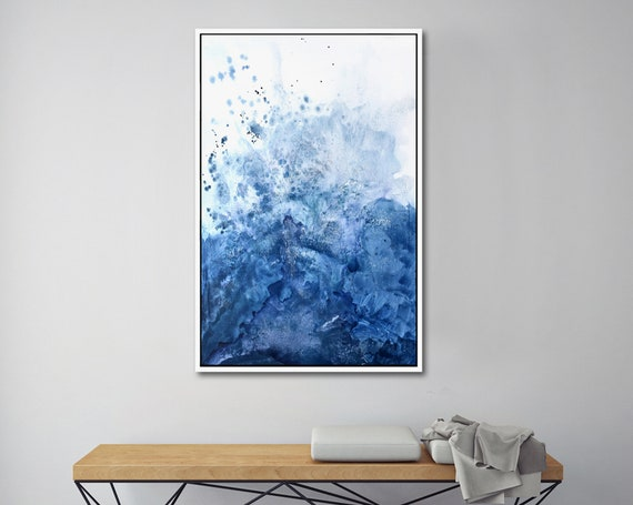 Blue watercolor, watercolor painting, modern watercolor, modern art