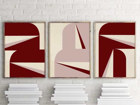 """Abstract Graphic Burgundy Blush - Triptych"""