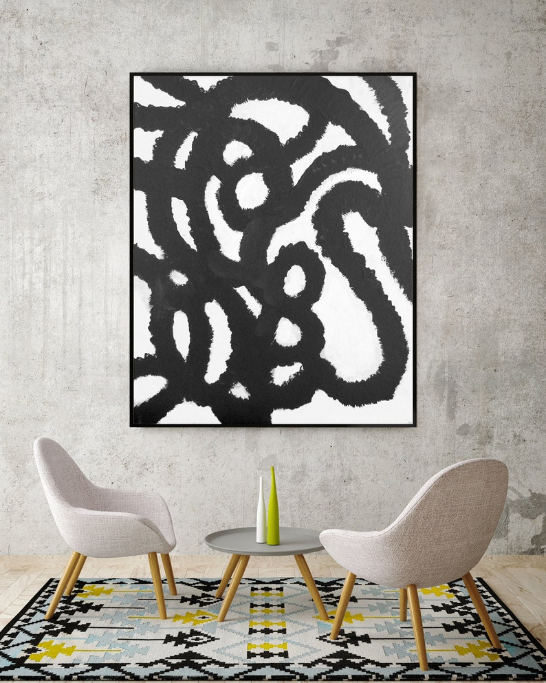 Black And White Abstract Painting Living Room Art Dining