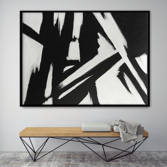 Abstract Black and White Painting Modern Living Room Wall Art Modern Dining  Room Art Affordable Art for Bedroom Abstract Original Painting