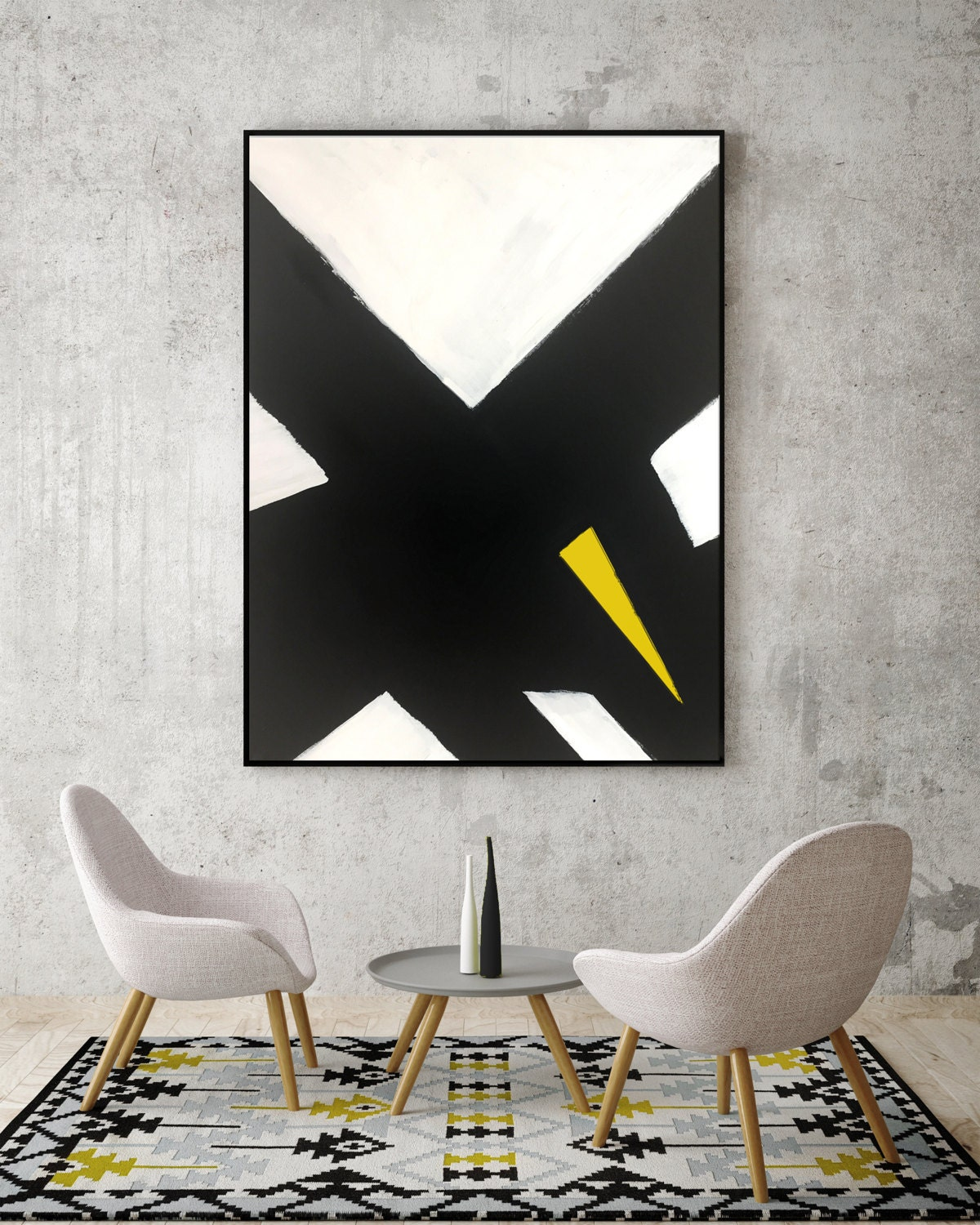 Abstract Black and White Yellow Canvas Painting for Modern ...