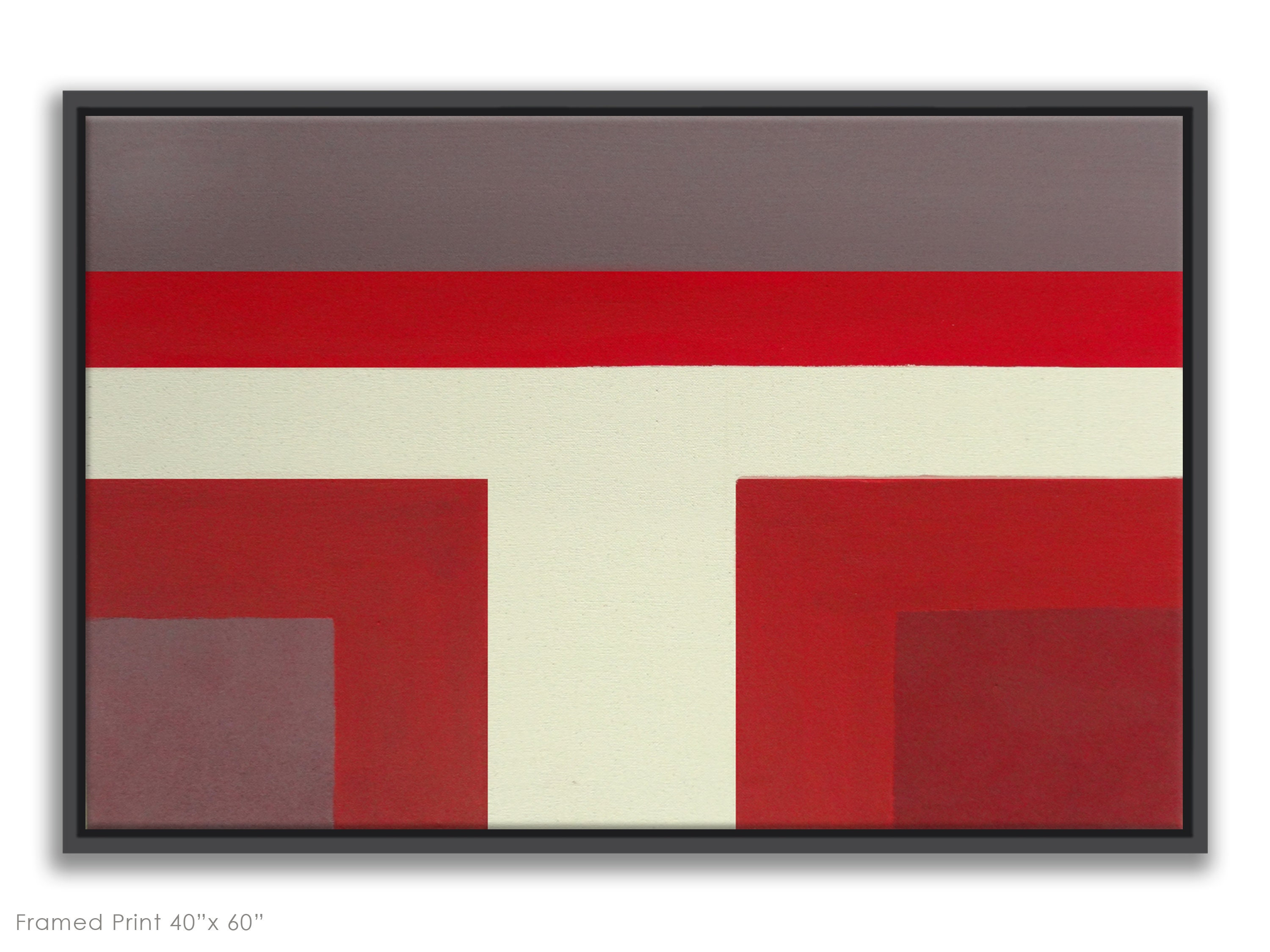 Red Modern Abstract Color Block Painting Burgundy Maroon White