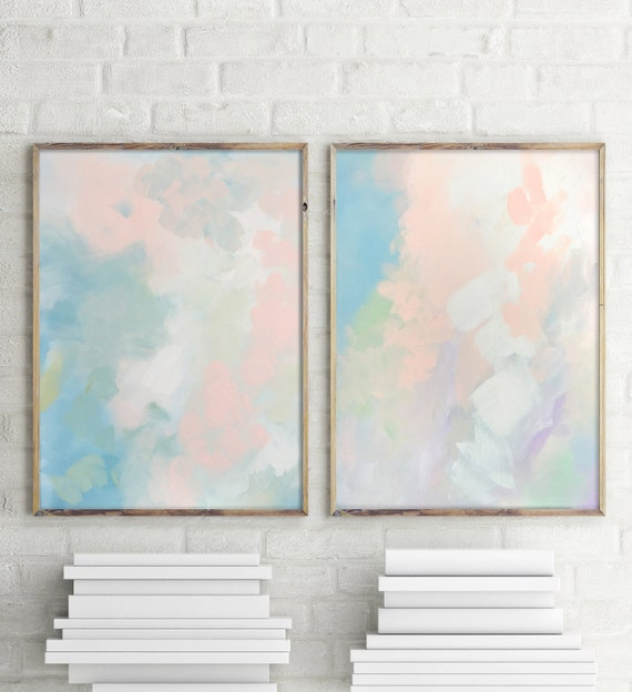 Abstract Peach Pair -Set of Two