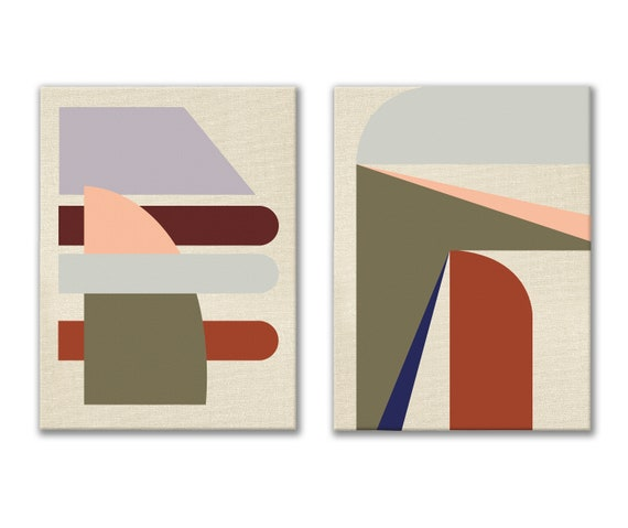 Set of Two Mid-century Modern Paintings