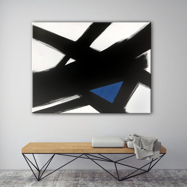 Large Painting Black White Blue Modern Art Living Room