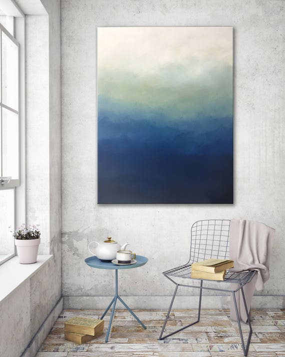 Blue ombre modern abstract painting bedroom wall decor living room wall  decor art gift