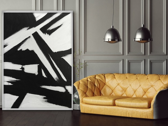 Abstract Black And White Painting Modern Living Room Wall Art Etsy
