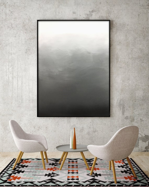 Abstract Black White Grey Ombre Painting Living Room Art