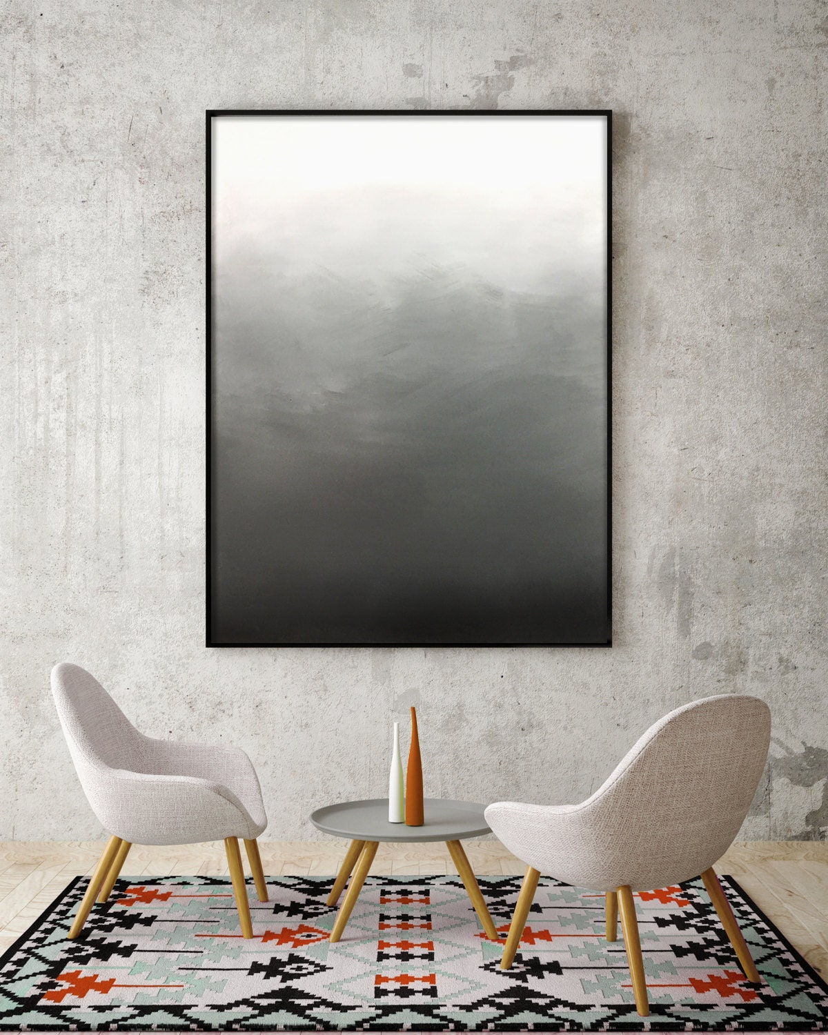Abstract Black White Grey Ombre Painting Living Room Art Bedroom