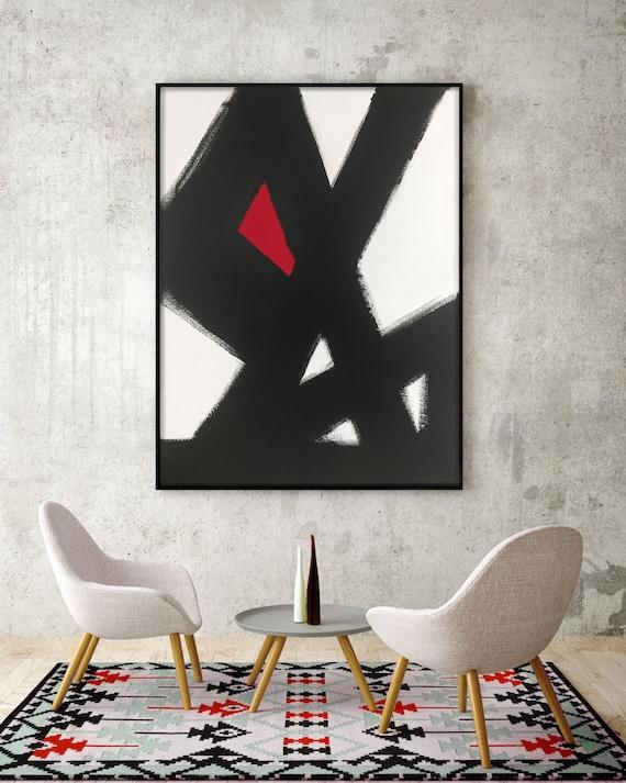 Abstract Black & White Slash No.2 RED Modern Living Room Art Modern Dining Room Art Modern Bedroom Art Large Canvas Black white red art red