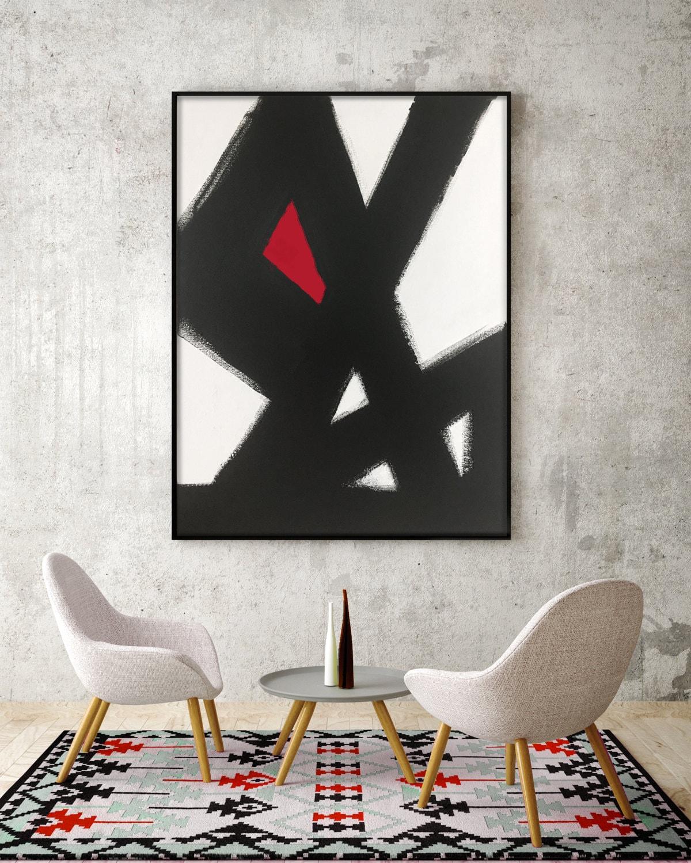 Abstract Black White Slash No2 RED Modern Living Room Art