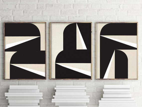 """Abstract Black and White Graphic No. 1 - Triptych"""