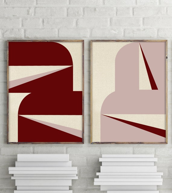 """Abstract Graphic Burgundy Blush - Set of Two"""