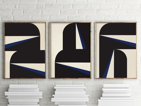Abstract Blue Graphic Triptych, Set of 3, Modern, Abstract, Original Art, Contemporary Painting