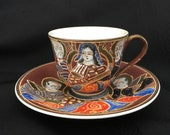 Vintage 1940 39 s Occupied Japan Demitasse Satsuma Moriage Kannon Goddess Immortals Cup and Saucer Set