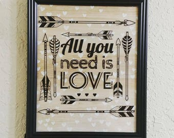 "Framed Quote: ""All You Need is Love"""