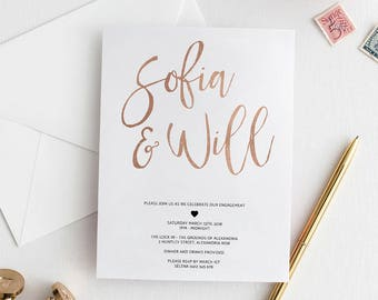 Engagement Invitation | Rose Gold Invitation | Gold Invitation | Faux Foil | Printed Invitation | Engaged | Engagement Party Invitation