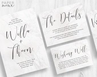 Wedding Invitation | Wedding Invitation Suite | Marble Invitation | Calligraphy Invitation | Modern Marble Printed Wedding Suite | Willa