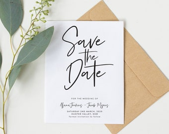 Save the Date | Printed Save the Date | Calligraphy | Black and White | Wedding | Invitation | Modern | Save the Dates | Simple Calligraphy