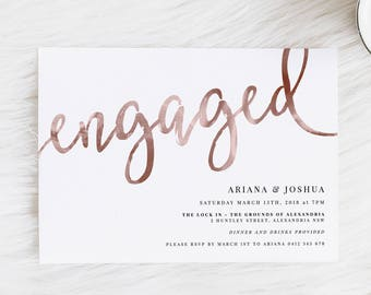 Engagement Invitation | Rose Gold Invitation | Gold Invitation | Copper | Faux Foil | Printed Invitation | Engaged | Engagement Invitation