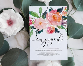 Engagement Party Invitation | Floral Invitation | Flowers Invitation | Calligraphy Engaged |  Printed Engagement Invitation | Pink Flowers