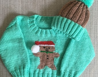 0-3 Month - Christmas Jumper and Hat - Gingerbread Man Design