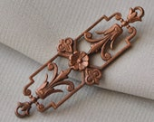 Vintage French Filigree Bracelet Link Antique Gold Toned Flat Back Raw Brass Die Casting Stamping Neoclassical Style 1 Piece 447J