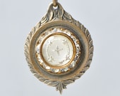 Vintage French Medal Bronze with Glass Intaglio Cross Center Authentic Neoclassical Style Pendant Made in France JAT