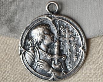 French Saint Joan of Arc Medal Antique Silver Plated Brass with Cobalt Enamel Medieval Style Pendant Fleur de Lis 517J