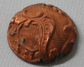 Vintage Filigree Dapped Dome Button Finding for Enameling French Metal Lace Raw Brass 1 Piece 399J