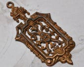 Vintage French Raw Brass Pendant or Charm Stamping Victorian or Medieval Style 1 Piece 486J