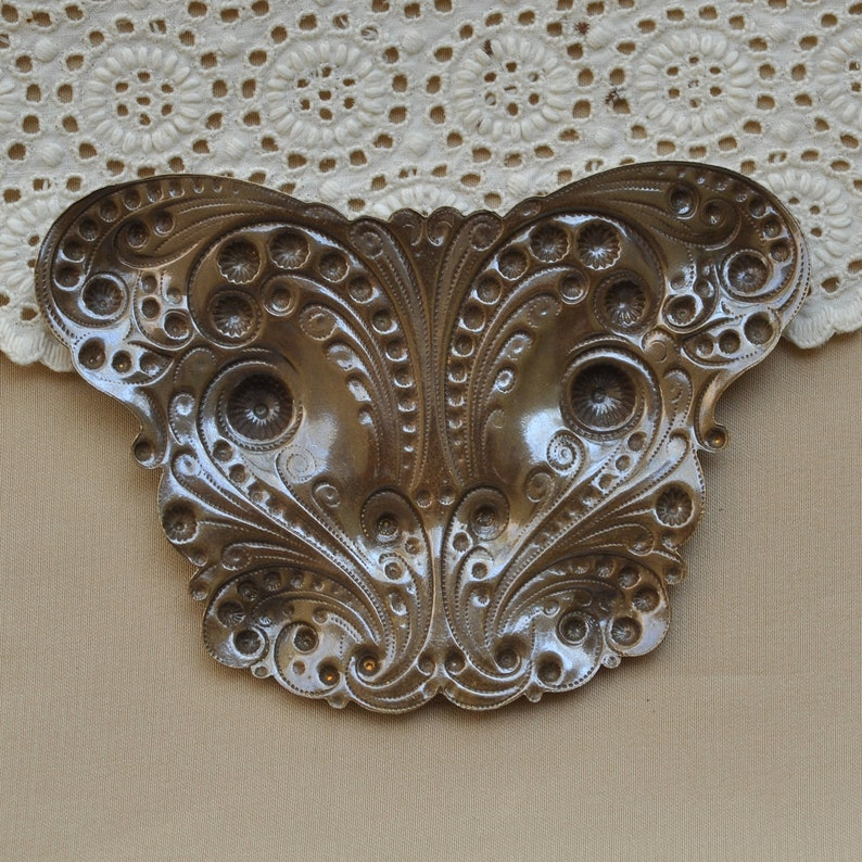 Large Stylized Butterfly Stamping Victorian Style Emblem Finding Antiqued Brass Made in USA