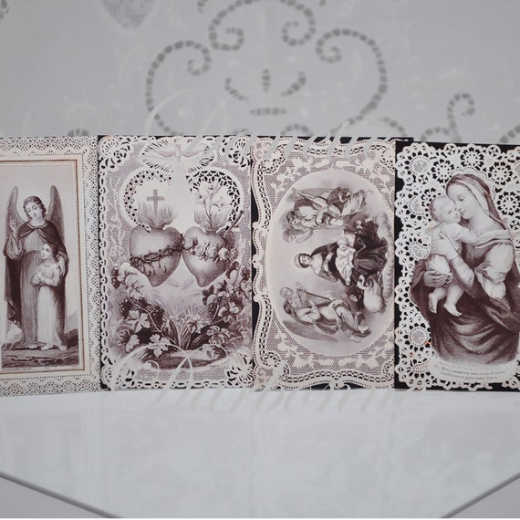 Antique French Prayer Card Reproductions Mary Jesus Sacred Heart Originals Made In France Jat