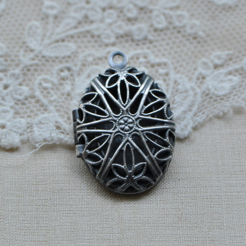 Tiny Vintage Oval Filigree Locket Sterling Silver Plated Brass Keepsake Reliquary Made in USA