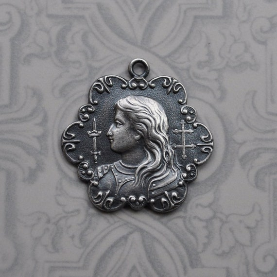 Saint Joan of Arc in Armor with Cross of Lorraine Medal Pendant Sterling Silver Plated Brass 267J