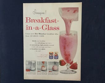 Vintage Quaker Oats Breakfast in-a-Glass (Smoothie) Ad