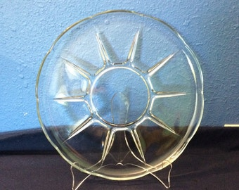 Vintage Glass Serving Plate, with Star Pattern and Scalloped Edge